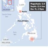 フィリピン南部ミンダナオ島でM6.8の地震発生 津波警報なし
